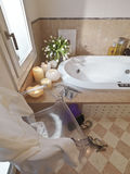 Classic bathroom and chair and shoe Stock Photos