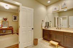 Classic bathroom connected to room. Classic tile floor bathroom connected to bedroom Royalty Free Stock Images