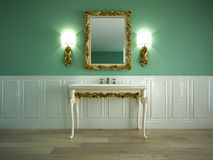 Classic bathroom. Classic sink in a room with mirror stock illustration