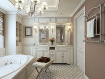 Classic Bathroom. With taupe walls. 3d render royalty free stock photos