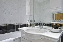 classic bathroom in white with decorative elements stock photos