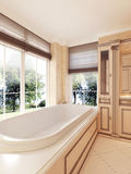 Classic bathtub by large window with Roman blinds in the bathroo Vector Illustration