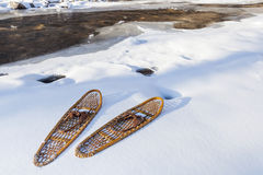 Classic Bear Paw snowshoes Stock Photography