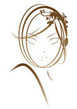Classic beautiful lady portrait. Suitable for makeup expert or hair stylist royalty free illustration