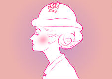 Classic beautiful woman. With hat stock illustration
