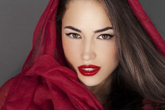 Classic beauty with red lips and scraf Royalty Free Stock Photo