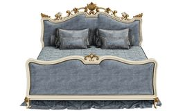 Classic bed on white background. 3d rendering.Digital illustration.Front view. Blue color vevet.White and golden carving details Stock Photo
