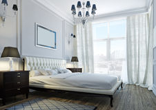 Classic bedroom. Interior of classic bedroom with expensive furniture royalty free stock photos