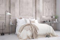 Classic bedroom. Interior design, 3d illustration Stock Photography