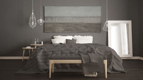 Classic bedroom, scandinavian modern style, minimalistic interio. R design, close-up Royalty Free Stock Photography
