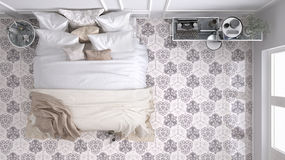 Classic bedroom, top view, with marble old vintage beige tiles Stock Image