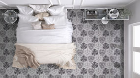 Classic bedroom, top view, with marble old vintage gray tiles Royalty Free Stock Image
