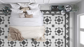 Classic bedroom, top view, with marble old vintage gray tiles Royalty Free Stock Photo