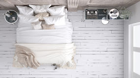 Classic bedroom, top view. Classic White bedroom, top view royalty free stock photography