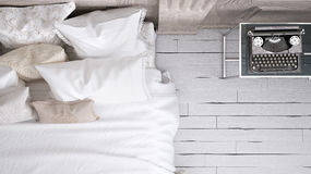 Classic bedroom, top view. Classic white bedroom, top view Stock Image