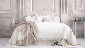 Classic bedroom. Classic white bedroom, interior design stock photos