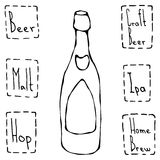Classic Beer Bottle. Hand Drawn Vector illustration. Stock Photo