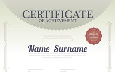 Classic Beige Blank Certified Border Template Luxury Background. Vector Illustration Stock Photo