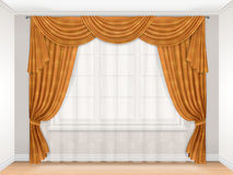 Classic beige curtain with damask pattern. Hanging on a window. Interior with a window decorated with transparent tulle and beautiful heavy curtains. Golden Stock Photography