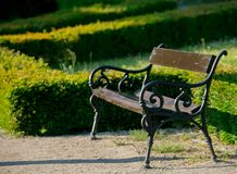 Classic bench in a city garden,. Side view royalty free stock images