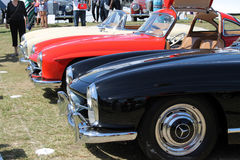Classic benzes sports cars lined up Stock Images