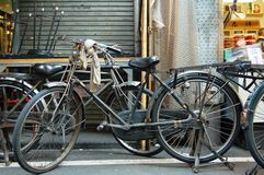 Classic Bicycle. Old classic bicycle at Tsukuji market, Tokyo, Japan.  This bicycle is used by merchants for carrying their goods Stock Photos