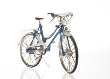 Classic Bicycle. Side view- classic Bicycle, blue and white royalty free stock image
