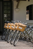 Classic bicycles. Parked near the hotel Royalty Free Stock Image