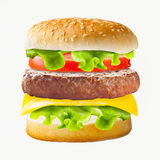 Classic big hamburger over isolated background. Royalty Free Stock Photo