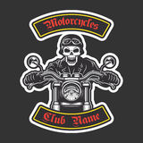 Classic biker embroidery. For jacket. Motorcycle theme Royalty Free Stock Image