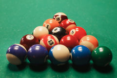 Classic billiard pyramid. Royalty Free Stock Images