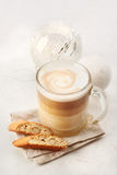 Classic Biscotti and Latte Macchiato Stock Image