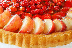 Classic Biskuit or German Biscuit with fruit topping Stock Photo