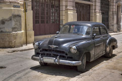 Classic black american car in Old Havana, Cuba royalty free stock photography