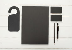 Classic black corporate identity template design. Business stati Stock Photography