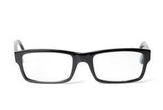 Classic black eye glasses front. On white background stock photo