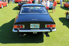 Classic black ferrari sports car rear view Stock Images