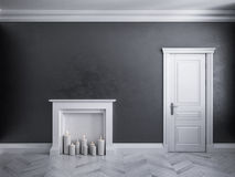Classic black interior with door, parquet, and fireplace with candles. 3d render illustration Royalty Free Stock Images