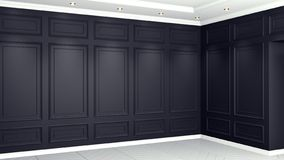 Classic black Interior living studio mock-up 3D rendering. Empty room for your montage stock illustration