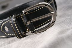 Classic black leather belt Royalty Free Stock Images
