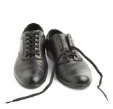 Classic black leather shoes isolated Stock Photos