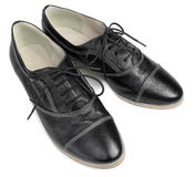 Classic black leather shoes with laces  on white background Stock Image