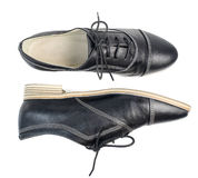 Classic black leather shoes with laces  on white background Stock Photography
