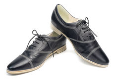 Classic black leather shoes with laces  on white background Stock Photo