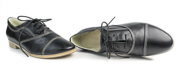 Classic black leather shoes with laces  on white background Stock Photos