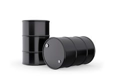 Classic Black Oil Barrels Royalty Free Stock Photos