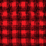 Classic black and red tartan fabric. Hand drawn seamless square pattern. Royalty Free Stock Image