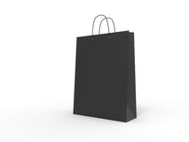 Classic black shopping bag, isolated. 3d illustration. Stock Photography