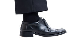 Classic black suit pants, sock and leather shoe Stock Image