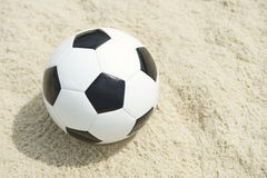 Classic Black White Football Soccer Ball Sand Beach Background Royalty Free Stock Photography